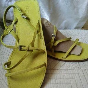 Rare lime green Prada leather sandals